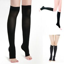 Compression Thin Leg Socks 30-40 mmHg Supports Open Toe Varicose Veins Stockings