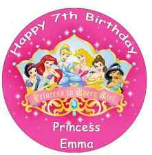 "Disney Princess Personalizado Cake Topper Comestibles De Oblea De Papel 7.5 """