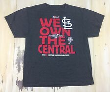 ST LOUIS CARDINALS - WE OWN THE CENTRAL 2013 Playoffs Gray T-Shirt, Mens LARGE
