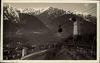 Merano Avelengo Südtirol AK 1932 Teleferica Bergbahn Seilbahn seltene Frankatur