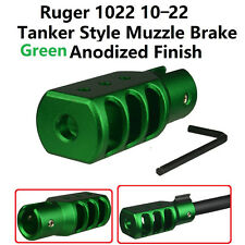 Slip On Set Screw Tightened Ruger 10/22 1022 Muzzle Brake Tanker Style Al Green
