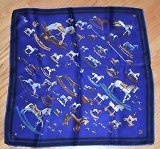 Talbots Silk Square Scarf Neckerchief Pocket Square Blue Hobby Horse Equestrian