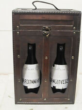 Wooden Wine Bottle Box Caddy Portable with Antique Rustic Finish, 2-Bottle