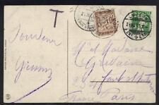 """SWITZERLAND -FRANCE 1911 POSTAGE DUE CARD """"LUZERN"""" TO PARIS"""