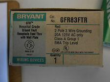 BRYANT GFR83FTR HOSPITAL GRADE GROUND FAULT RECEPTACLE 20 AMP 125 VOLT