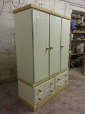 SPECIAL OFFER HANDMADE TRIPLE 4 DRAWER WARDROBE CREAM/OLDE ANTIQUE NO FLAT PACKS