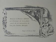 WILLETTE : FAIRE PART HERIOT .LITHOGRAPHIE 1897 ,PROGRAMMES ILLUSTRéS , MAINDRON