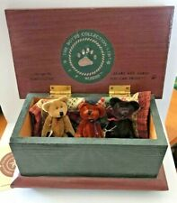 Bailey's Blanket Chest by Boyds Bears Wood Trunk 3 T.F. Wuzzies & Quilt Patch