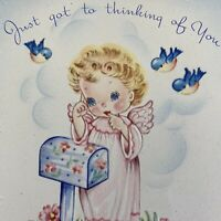 Vintage Mid Century Greeting Card Cute Angel Girl Birds Mailbox Thinking Of You