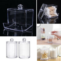 Clear Acrylic Box Makeup Cotton Pads Case Holder Cosmetic Organizer Storage