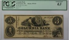 1852 Columbia Bank $3 Obsolete Currency Haxby 195-G4 Washington DC PCGS 63