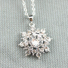 14k white Gold plated snowflake frozen elsa crystals pendant necklace