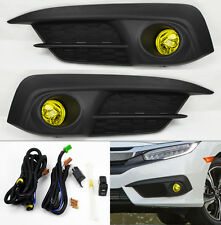 Honda Civic 4dr Sedan 2016+ Yellow Front Fog Lights Pair RH LH w/ Switch Wiring