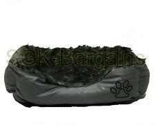 Grey LARGE Rex Leather & Fur Puppy Pet Dog Cat Nesting Bed Mat Basket Washable
