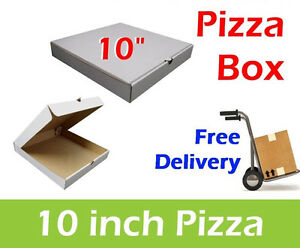 """100 x 10"""" Inch Plain White Takeaway Pizza Boxes, Pizza Box, Postal Boxes"""