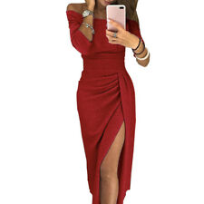 Elegant Women Sexy Boat Neck Glitter Bodycon Dress Evening Party Formal Dress