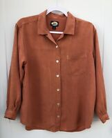 Tommy Bahama Women's Small Silk Button Front Long Sleeve Blouse Pocket flaws