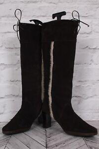TOPSHOP Riding WINTER Boots Brown Suede Leather Knee High Block Heel Zip 39 UK 6
