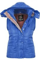 Womens 12-18 Blue Quilted Hooded Gilet Zip Poppers Jacket Refer To Measurements