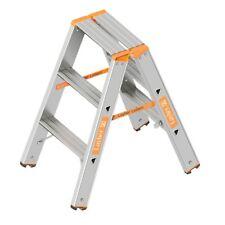 TOPIC 1043 Alu Layher Stehleiter zweiteilig, Kunststoffschuhen 2x 3 Stufen 1,55