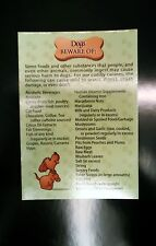 PET SAFETY food list reminder REFRIGERATOR MAGNET great gifts for pet owners!!!!