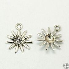 10 Tibetan Silver Sunflower Flower Pendant Charms