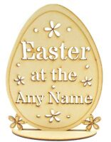 Personalised 'Easter at the...' Wooden MDF Egg on stand, Easter Gift, Wood Craft
