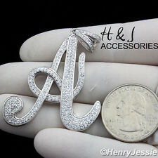 "MEN 925 STERLING SILVER ICED OUT BLING INITIAL LETTER ""A"" CHARM PENDANT*SP141"