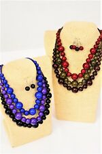 LOT OF 6 BEADED NECKLACE EARRING SETS COSTUME JEWELRY ROUND PURPLE BLACK BLUE