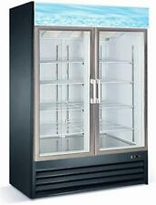 Commercial Glass Double 2 Door Reach In Freezer Ice Merchandiser White Or Black