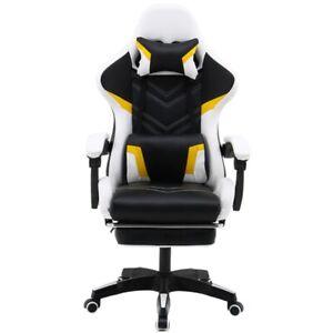 PC Gaming Chair Swivel HighBack Ergonomic Leather Racing Office Black/White New