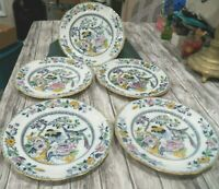 "Beautiful Rare Set of 5 Ashworth Bird of Paradise China Dinner Plates From  10"""