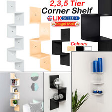 2/3/5 Wall Shelf Storage Tier Floating Shelves Corner Display Wood Bookcase Unit