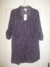 Style & Co Petite Women's Blouse size PM Petite Medium DARK purple Black & white