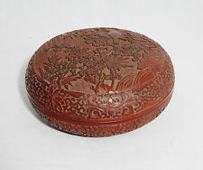 Well  Hand  Carved  Chinese  Lacquerware  Of  Box  With  Mark     M1101