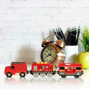 Electric Railway Train Toy Fire Truck W/ Light Compatible With BRIO Wooden Track
