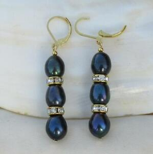 Charming AAA Real Natural South Sea Black Pearl Earrings 14k Gold HOOK