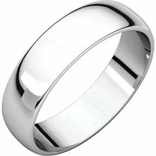 5mm Solid Platinum 950 Plain Dome Half Round Comfort Fit Wedding Band Size 5