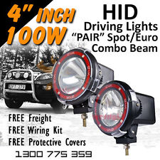 HID Xenon Driving Lights  Pair 4 Inch 100w Spot/Euro 4x4 4wd Off Road 12v 24v