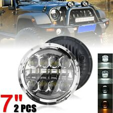 "2PCS 7"" 75W LED Headlight With H4-H13 Adapter For Harley-Davidson Jeep Wrangler"