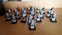 21Pcs Minifigures Star Wars Blue Clone Trooper 501st Army Trooper Lego MOC Toys