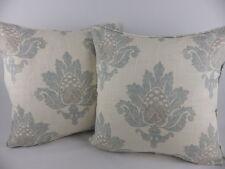 Blue Grey Jane Churchill Bruton Damask fabric Pillow Cushion Covers Large Linen