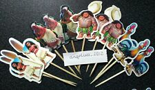12 x Moana Style Cake Picks / Cupcake Toppers Birthday Cake Flags Decorations 24