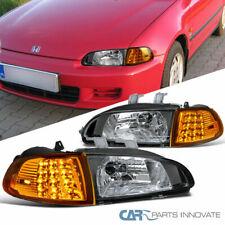 Fit Honda 92-95 Civic 2/3Dr Black Headlights+Amber LED Corner Turn Signal Lamps