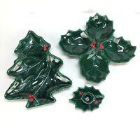 Vtg Lefton Christmas Holly Berry 4 Leaf Nut Candy Dish Tray Candle Holder Set