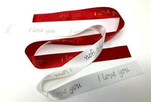 I Love You Ribbon Personalised Satin Ribbon Red or White - Rose Gold Foil