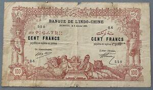 Billet de banque de L'Indo-Chine 100 frs de Djibouti 2 Janvier 1920