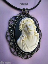 3D Cameo Jesus Christ Christian Son of God Religion Pendant Necklace Black Cameo