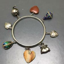 Antique Victorian  Silver Puffed heart Russian Enamel Charm Bracelet bangle