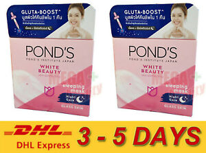 2 x Pond s White Beauty Serum Sleeping Mask Vitamin B3, C + Arbutin Night Cream